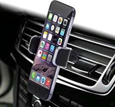 Dash Crab MONO - Genuine Leather Car Mount, Luxury Premium Air Vent Cell Phone Car Holder for iPhone 7 Plus 6 6s Plus Samsung Galaxy S7 S6 Edge Note 5, Universal Grip - Retail Pack (Black)
