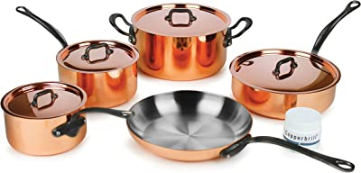 Mauviel Mheritage M150C2 9-piece Copper Cookware Set