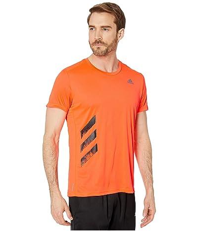 adidas Run It Tee Big Stripes T-Shirt (Solar Red) Men