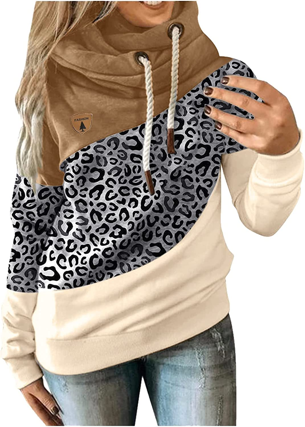 Hoodies for Women Cute Cowl Neck Hoodies Color Block Pullover Dr