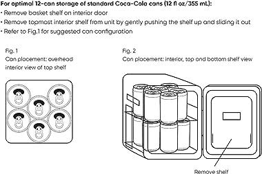 Cooluli Retro Coca-Cola Mini Fridge for Bedroom - Car, Office Desk & College Dorm Room - 10L/12 Can Small Refrigerator -