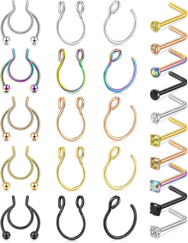 Incaton Fake Nose Rings Hoop Fake Septum Ring 20G Stainless Steel L-Shaped Bose Rings Stud Screw Bone Pin Nose Ring Nostril Piercing Jewelry