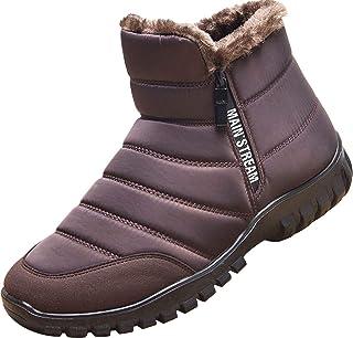 GILKUO Homme Bottes de Neige Fourré Chaude Impermeable Bottines Hiver Confort Chaussures