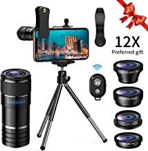 Phone Camera Lens Kit,5 in 1 Cell Phone Lens with Tripod & Shutter Remote,Star Filter Lens+12x Telephoto Lens+0.65x Wide Angle & Macro+Fisheye,Clip-On Lenses for iPhone,Smartphones/Tablet