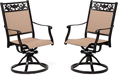 CW Chair Patio Set of 2 Cast Aluminum Textilene High Back Rocker, Metal Swivel Outdoor Dining Chair for Lawn Garden Backyard Sling Mesh Weather Resistant, Dark Brown