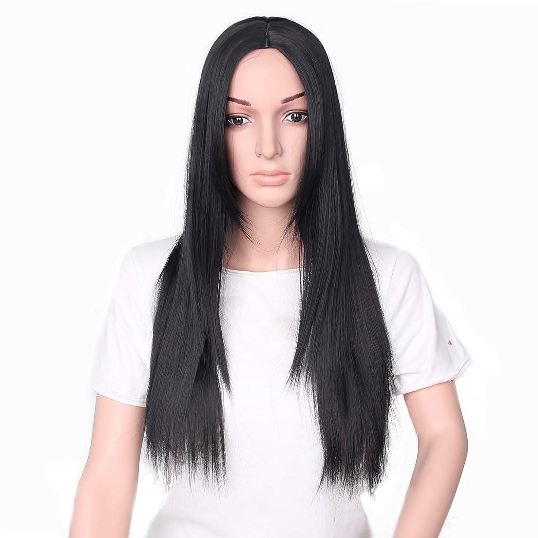 歴史的代名詞マチュピチュYZUEYT 66cm女性ナチュラルセンター分割ロングストレートブラックヘアウィッグ YZUEYT (Size : One size)