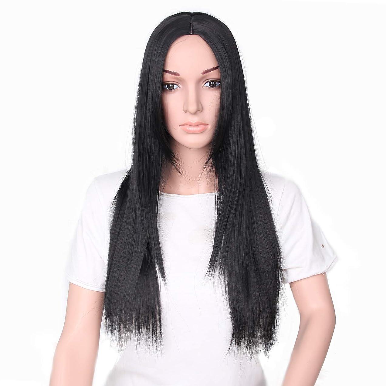 シャベルカルシウム共産主義者YZUEYT 66cm女性ナチュラルセンター分割ロングストレートブラックヘアウィッグ YZUEYT (Size : One size)