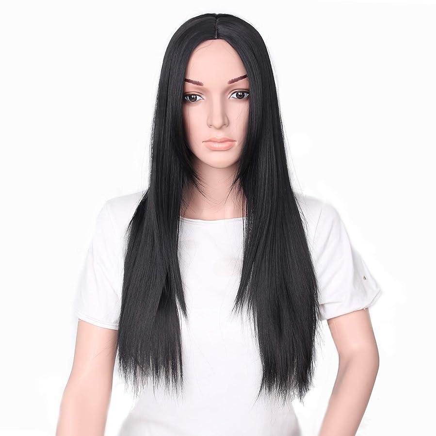 バータージョセフバンクス利得YZUEYT 66cm女性ナチュラルセンター分割ロングストレートブラックヘアウィッグ YZUEYT (Size : One size)