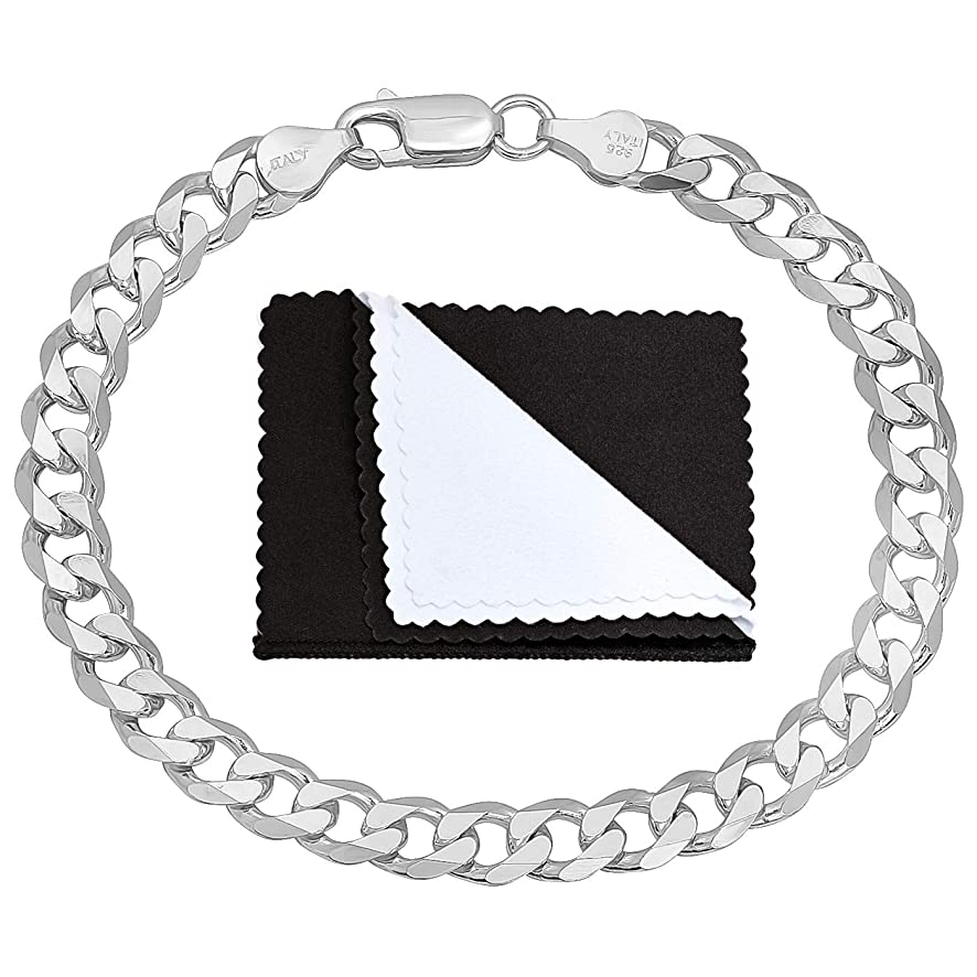 6.5mm Thick Italian 925 Sterling Silver Beveled Cuban Link Chain or Bracelet, 7