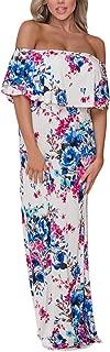 Women Ruffle Off Shoulder Floral Print Maxi Boho Dress