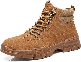 ZRH Chaussures Homme Hiver Bottines for Hommes Bottes De Travail À Col Contrasté Casual Cuir Et en Toile À Lacets en Daim ...