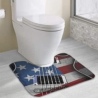Kate Holt Seamless Art Print Guitar-Flag U-Shaped Absorbs Moisture Non Slip Bathroom Rugs Toilet Carpet Floor Mat, 15.8
