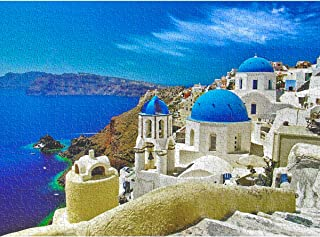 Magicfun Jigsaw Puzzles for Adults Kids, 1000 Pieces Aegean Sea Landscape Puzzles with Poster, Grown up Floor Puzzles Educational Games Toys Gift