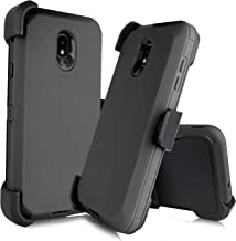 Compatible with Samsung Galaxy J7 2018 Refine, Crown, Aura, Aero, Eon, J7 Top (SM- J737) [Four Layered Protection] Heavy Duty Defender Holster Armor Case with Built in Screen Protector (Black)