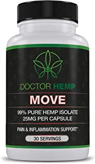 Doctor Hemp Move | for Pain Relief & Inflammation | 750mg of Pure Organic Hemp Extract + Glucosamine, Chondroitin, Turmeric, MSM | Recover from Muscle, Joint & Back Pain | Vegan, Non-GMO | 30 Serv