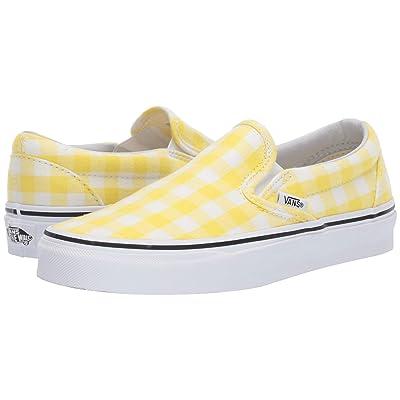 Vans Classic Slip-Ontm ((Gingham) Blazing Yellow/True White) Skate Shoes
