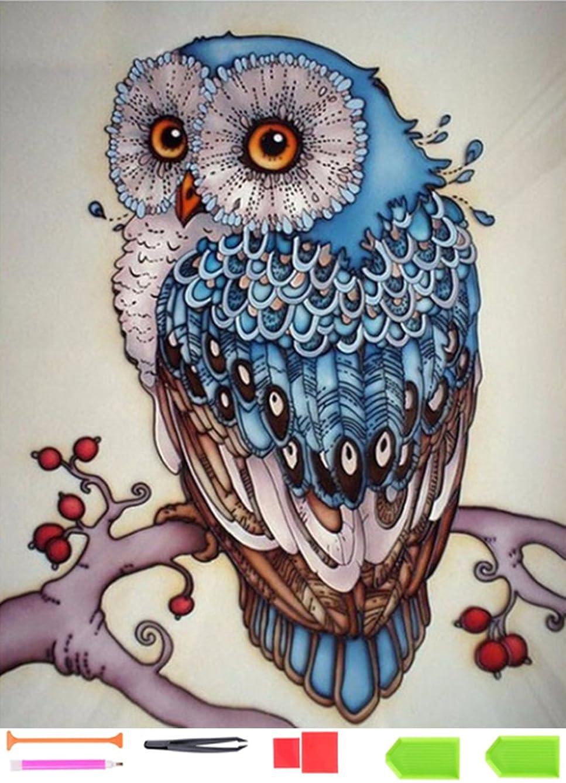 【Full Round Drill】 DIY 5D Diamond Painting Kits for Adults Diamond Painting Full Drill Owls Crystal Rhinestone Embroidery Cross Stitch Arts Craft Supply Canvas Wall Decor.by Ten Tree