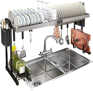 Gaolx Égouttoir à Vaisselle 1 Niveaux Égouttoir à Vaisselle Extensible Cuisine sur évier Étagère de Rangement Séchage à Va...