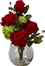 Nearly Natural 1284 Rose and Hydrangea Silk Flower Arrangement, Red