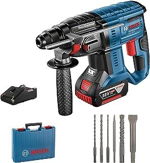 Bosch Professional GBH 18V-20 Martillo perforador, 1 batería x 4,0 Ah, 1,7 J, set de 6 accesorios, 18 V, en maletín, Edición Amazon, Multicolor