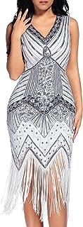 comprar comparacion Flapper Vestidos de Mujer de los años 20 con Cuello en V con Cuentas de Flecos Great Gatsby Dress Años 20 Estilo Vintaje V...