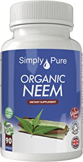Organic Neem Vegan Capsules x 90, 100% Natural Soil Association Certified, 500mg, Gluten Free, Exclusive to Amazon.