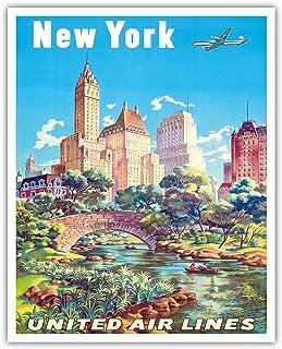 New York, USA - Gapstow Bridge at Central Park South Pond, Manhattan - United Air Lines - Vintage Airline Travel Poster by Joseph Fehér c.1940s - Fine Art Print 16in x 20in