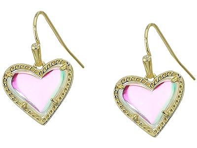 Kendra Scott Ari Heart Drop Earrings (Gold Dichroic Glass) Earring