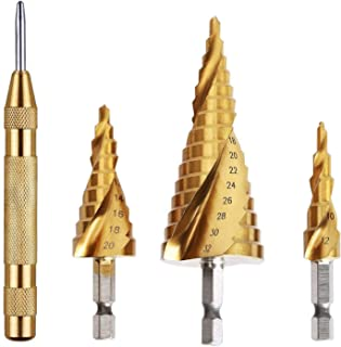 Knoweasy HSS Titanium Coated Spiral Grooved Step Drill 3-Piece Set with Automatic Spring Loaded Center Punch,4-12mm/4-20mm/4-32mm Drill Bits Set for Sheet Metal Hole Drilling