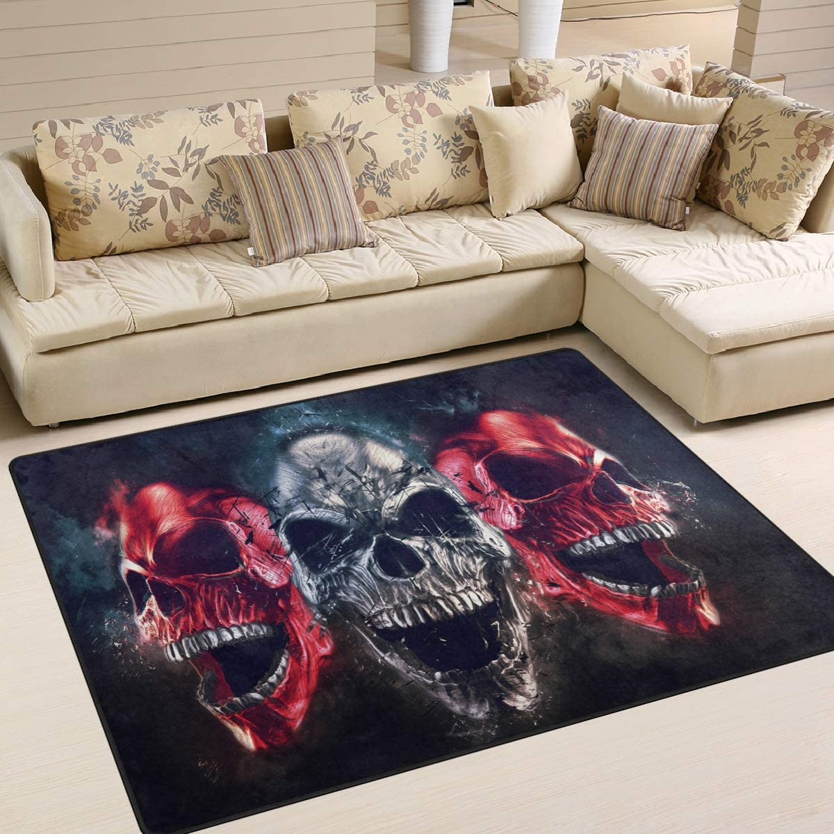 ALAZA Abstract Outlet ☆ Free Shipping Sugar Skull Halloween Artwork Area Rugs for Ranking TOP18 Rug L