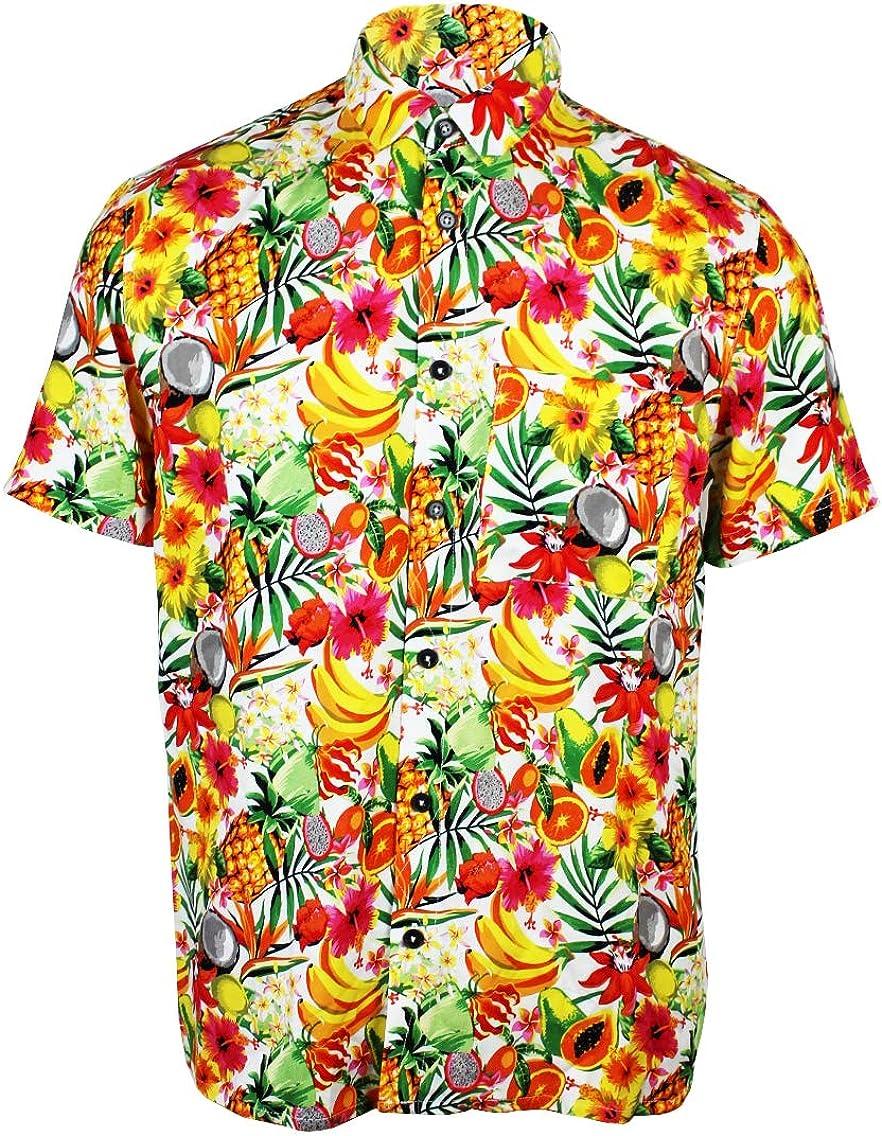 Men's Hawaiian Flower Leaf Beach Aloha Party Print Casual Button Down Short Sleeve Shirt