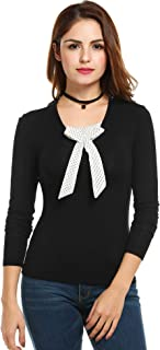 Womens Casual Long Sleeve Bowknot Stretch Modal Tops T-Shirt Blouse