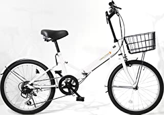 折りたたみ自転車 20インチ AJ-08 シマノ6段変速ギア フロントライト・ロック錠・カゴ付き 折畳み 自転車 折り畳み自転車 ミニベロ 小径車