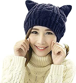 Women Girls Cute Cat Ears Beanie Hat Knitted Cap Headgear Crochet Ski Hat Trendy Fall Winter Warm Hat