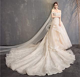 Women's Wedding Dress Evening Round Neck Short Sleeve Long Lace Evening Dresses Lace Champagne XXL
