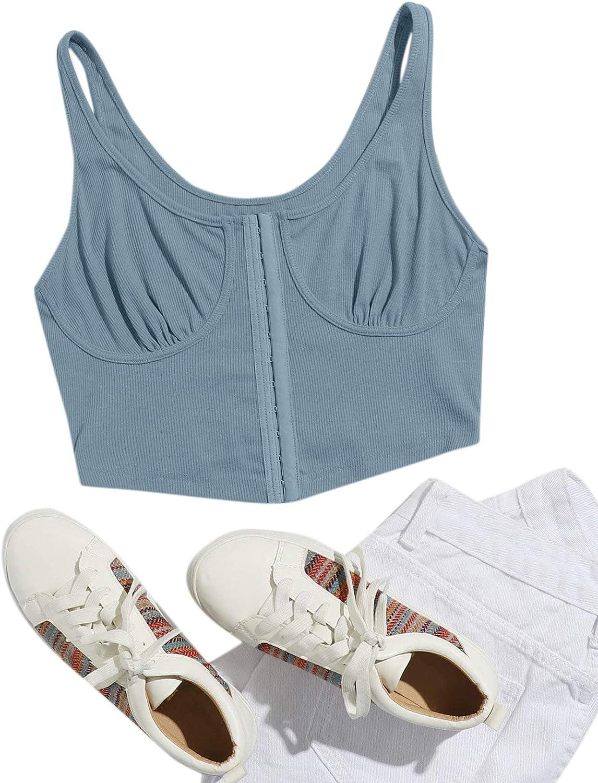 SheIn Women's Push Up Bustier Corset Scoop Neck Knit Asymmetric Crop Tank Top