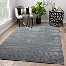 Jaipur Rugs Solids Blue 8X10 Feet Wool and Viscose Solids Rug and Carpet