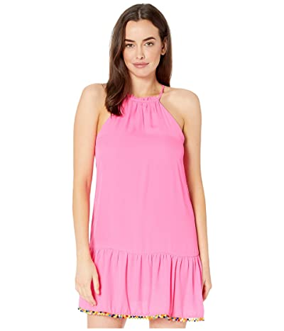 American Rose Ariana Spaghetti Strap Dress with Pom Poms (Fuchsia) Women