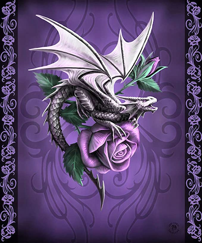 Anne Stokes Dragon Beauty Queen Size Raschel Plush Dragon Throw Blanket, Measures 79 inches by 94 inches