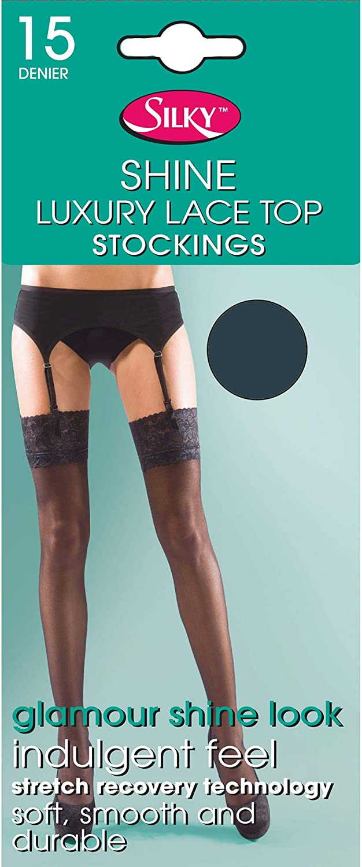 Silky Womens/Ladies Shine Lace Stockings (1 Pair)