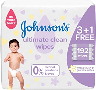 JOHNSON'S Baby, Wipes, Ultimate Clean, Pack of 192 wipes