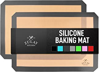 Zulay Kitchen (2 Pack) Silicone Baking Mat Sheet Set - Reusable Baking Mat Nonstick - Half Sheet Baking Mat For Oven (Size...