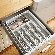 bandejas de cubiertos de cocina con 3 compartimentos espaciosos Organizador de cajones de cocina almacenamiento de cubiertos Bandeja de cubiertos de utensilios de cocina