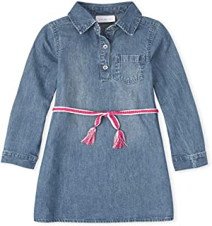 فستان كاجوال للفتيات بأكمام طويلة من قماش الدنيم من ذا كيدز بليس