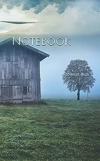 Notebook: Cabin field nature landscape sky clouds fog cold