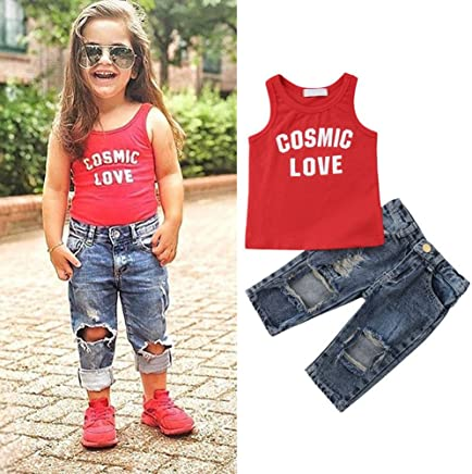 3ea025ef9bd37 iTranyee Toddler Baby Boys Girls Letter Vest Top + Ripped Jeans 2 Piece Pants  Set Outfits