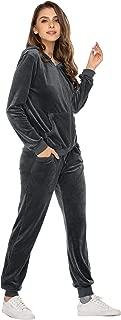 Hotouch Sweatsuits Set Womens 2 Piece Sweatshirt & Sweatpants Velour Full Zip Hoodie Tracksuits Sportswear with Pocket