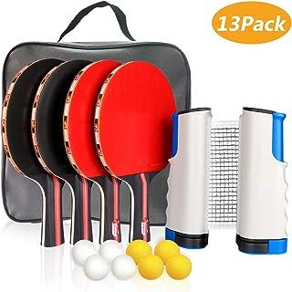 Xddias Conjunto de Tenis de Mesa con Red, 4 Raquetas + 8 Bolas/Pelotas de Tenis de Mesa + 1 Red Retráctil, Juego de Tenis de Mesa Portátil para Interior al Aire Libre