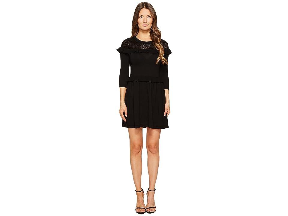 Boutique Moschino Long Sleeve Knit Dress (Black) Women