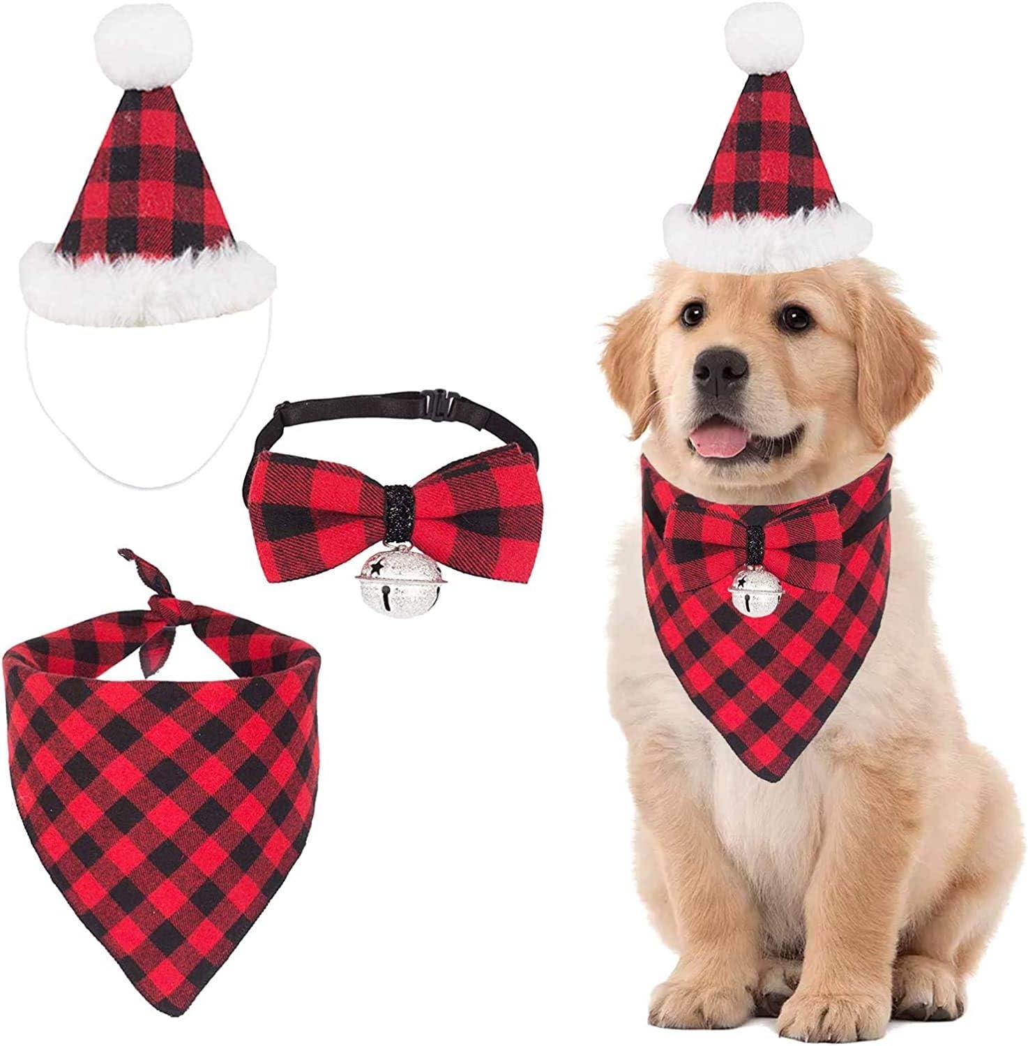 3 Sets Christmas Dog Bandana NEW before selling ☆ Hat Pet Bow Scarf Triangle mart tie Set